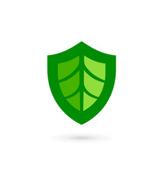 eco leaves shield logo icon design template vector image