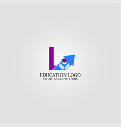 Education logo template with l letter logo vector