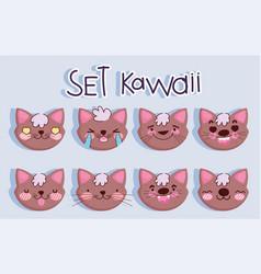 emojis kawaii cartoon faces brown cat set vector image