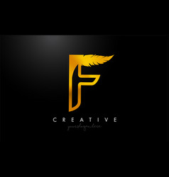 F golden gold feather letter logo icon design vector
