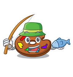 fishing palette mascot cartoon style vector image
