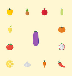 flat icons lime pitaya bulgarian bell and other vector image