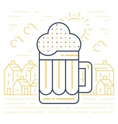 Foamy beer mug linear icon vector