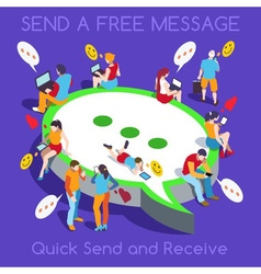 Free Chat Set People Isometric vector
