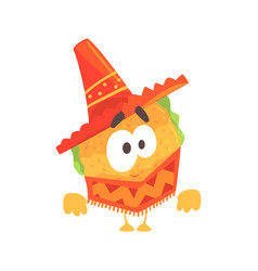 funny cartoon mexican taco character wearing vector image