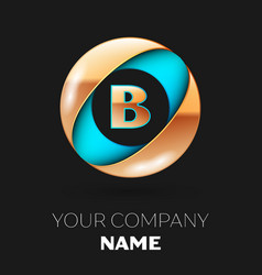 golden letter b logo symbol in blue-golden circle vector image