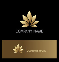 Golden lotus flower logo vector