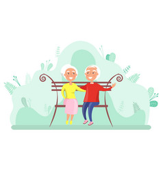 grandparents sitting on bench elderly vector image