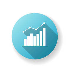 growing statistic blue flat design long shadow vector image