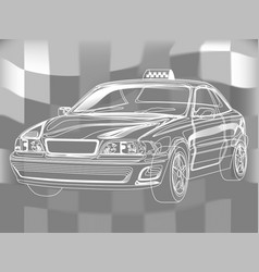 hand-drown taxi car sketch scheme vector image