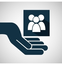 hand hold group person e-commerce icon vector image