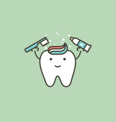 healthy white tooth is brushing teeth vector image