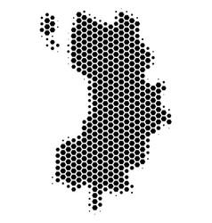 Hexagon halftone koh tao thai island map vector