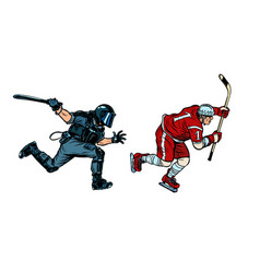 hockey player riot police with a baton vector image