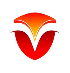 initial m curves modern shield symbol logo design vector image