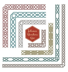 Islamic ornamental borders with corners vector