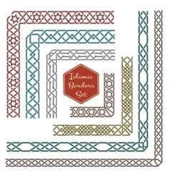 Islamic ornamental borders with corners vector image