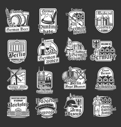 isolated icons german travel landmarks vector image
