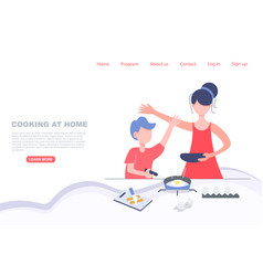 Kid cooking with mom stay at home concept landing vector