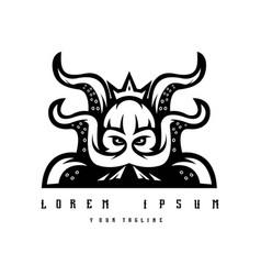 Kraken mascot logo design black and white vector