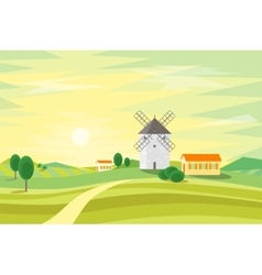 Landscape Rural with Traditional Old Windmill vector