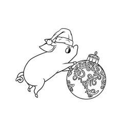 Little cute piglet rolling a christmas tree ball vector