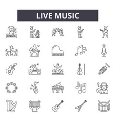 live music line icons for web and mobile design vector image