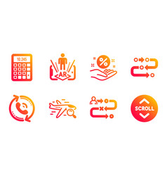 Loan percent call center and journey path icons vector