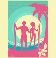 lovely couple surfers and blue sea waves on vector image