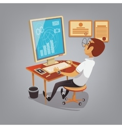 Man busy working with computer in office Business vector
