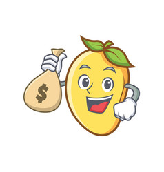 Mango character cartoon mascot with money bag vector