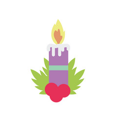 merry christmas celebration burning candle holly vector image