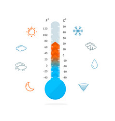 Meteorology thermometer and weather icons vector