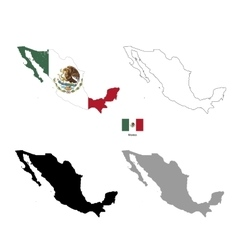 Mexico country black silhouette and with flag on vector