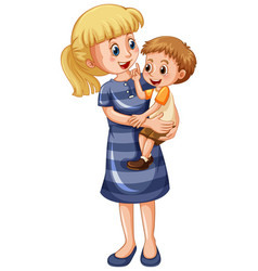 Mother and son cartoon character vector