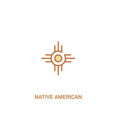 Native american sun concept 2 colored icon simple vector