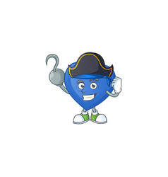 One hand pirate blue love cartoon character vector