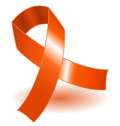 Orange awareness ribbon and shadow vector image