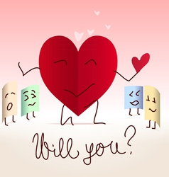 Paper heart shaped note proposal vector image