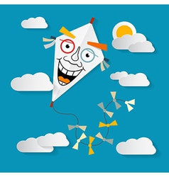 Paper Kite on Sky with Clouds and Sun vector image