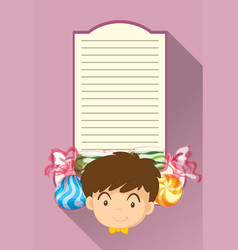 paper template with boy and candy vector image