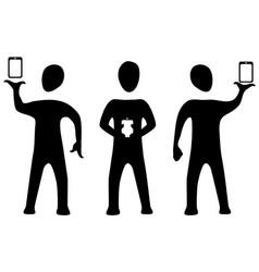 phone three silhouette symbols vector image