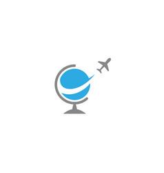 plane globe flying around logo design icon vector image