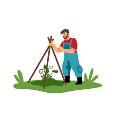 planting cartoon man working in garden vector image