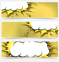 Pop-art comic book style web flyer layout vector image