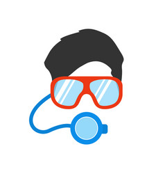 portrait of man in mask and glasses vector image