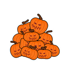 pumpkins pile for halloween lot of vegetables for vector image