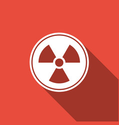 radioactive icon isolated with long shadow vector image