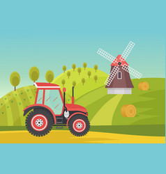 Ranch agricultural summer green fields with modern vector