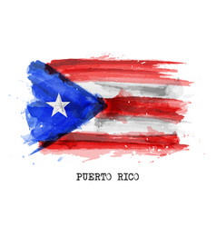 Realistic watercolor painting flag puerto rico vector